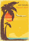 Airplane and tropical paradise old retro poster bacckground Stock Photos