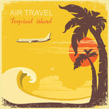 Airplane and tropical paradise old retro poster Stock Image