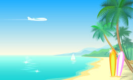 Airplane and tropical paradise palm tree surfboards. Sunny sand coast beach sea ocean landscape.Vector background. Illustration for text art Stock Photo