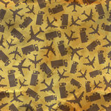 Airplane and truck. Seamless pattern. Stock Image
