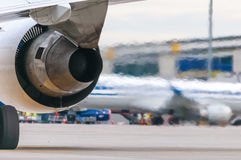 Airplane turbine detail flow of hot air from the Royalty Free Stock Images