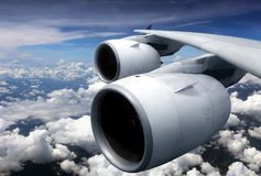 Airplane turbine engine from window view royalty free stock images