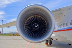 Airplane turbine, jet engine of passenger aircraft royalty free stock photo