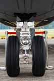 Airplane Tyre. A front facing photo taken on an airplane tyre Stock Photography