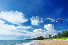 Airplane under beach Royalty Free Stock Photos