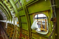Airplane under maintenance stock photos