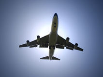 Airplane under sunlight Stock Photography