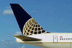 Continental (United) Airlines plane. Sky. Royalty Free Stock Images