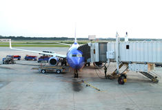 Airplane unloading. Unloading an airplane at the airport Royalty Free Stock Images