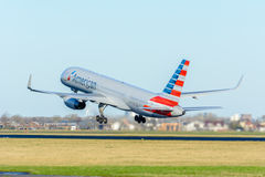 Airplane US Airways N936UW Boeing 757-200 is taking off at Schiphol airport. Stock Photos