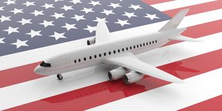 Airplane on USA flag background, view from above. 3d illustration. Travel in United States of America. Blank commercial airplane with four engines, on USA flag Stock Image