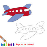 Airplane in vector cartoon to be colored. Royalty Free Stock Photos