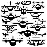 Airplane vector icons set Stock Photos