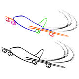 Airplane. Vector illustration : Airplane sketch on a white background Stock Photos