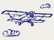 Airplane vector sketch. Doodle style Royalty Free Stock Photo