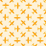 Airplane vector yellow seamless patten Royalty Free Stock Photos