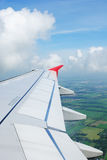 Airplane view. Travel view from airplane showing wing during flight over thailand stock images