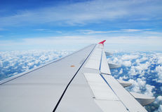 Airplane view. Travel view from airplane showing wing during flight over thailand royalty free stock images