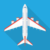 Airplane view from above. Isolated with long shadow. Airplane icon in a flat style Stock Photo