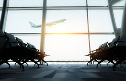 Airplane, view from airport terminal. selective focus, airplane.  Royalty Free Stock Photos