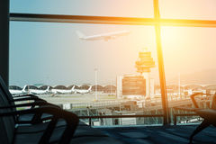 Airplane, view from airport terminal.selective focus, vintage fi Stock Photography