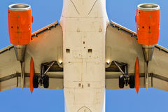 Airplane view from below Stock Image