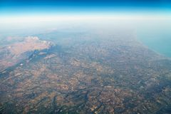 Airplane View Of Earth Horizon. Airplane View Of Planet Earth Horizon Royalty Free Stock Images