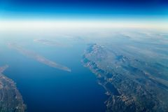 Airplane View Of Earth Horizon. Airplane View Of Planet Earth Horizon Stock Photo