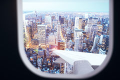 Airplane view from illuminator Royalty Free Stock Images