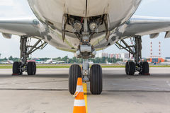 Airplane view from landing gear Royalty Free Stock Photography