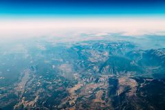 Airplane View Of Earth Horizon. Airplane View Of Planet Earth Horizon stock photography
