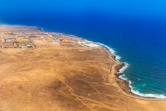 Airplane view to Costa de Antigua, Fuerteventura, Spain. Airplane view to Costa de Antigua, Fuerteventura island, Spain Stock Photo