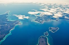 Airplane view to Michigan bridge and islands around stock photo