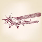 Airplane vintage hand drawn vector  sketch Royalty Free Stock Photography