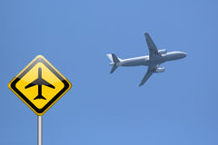 Airplane warning sign Royalty Free Stock Images