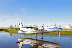 Airplane on water in Netherlands Royalty Free Stock Photography