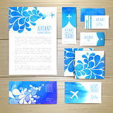 Airplane watercolor artistic document template Royalty Free Stock Photos