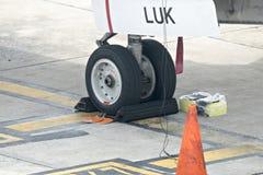 Airplane wheel Royalty Free Stock Photos