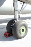 Airplane wheel Royalty Free Stock Photo