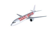 Airplane on white. With travel with me sign on the side Stock Images
