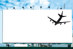 Airplane with white large billboard advertise. Airplane with blank white large billboard advertise Royalty Free Stock Image