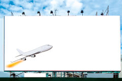 Airplane with white large billboard advertise. Airplane with blank white large billboard advertise Royalty Free Stock Photos