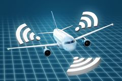 Airplane with wifi symbols on an abstract background. Airplane on a conceptual grid background with wifi symbols around the fuselage Royalty Free Stock Images