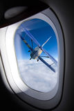 Airplane window. View from an airplane window stock photography
