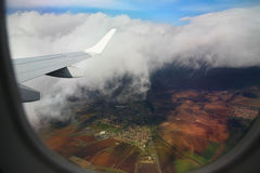 Airplane Window. View from an airplane window Royalty Free Stock Image