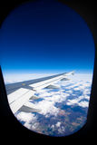 Airplane window. View from an airplane window Royalty Free Stock Images