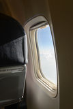 Airplane window Inside airplane. Airplane window. Inside view airplane Stock Image