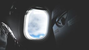 Airplane Window Opened royalty free stock images