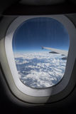 airplane window sight during flight Stock Photo