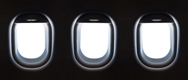 Airplane window and space for your design, 3 plane window, clipp Royalty Free Stock Photos